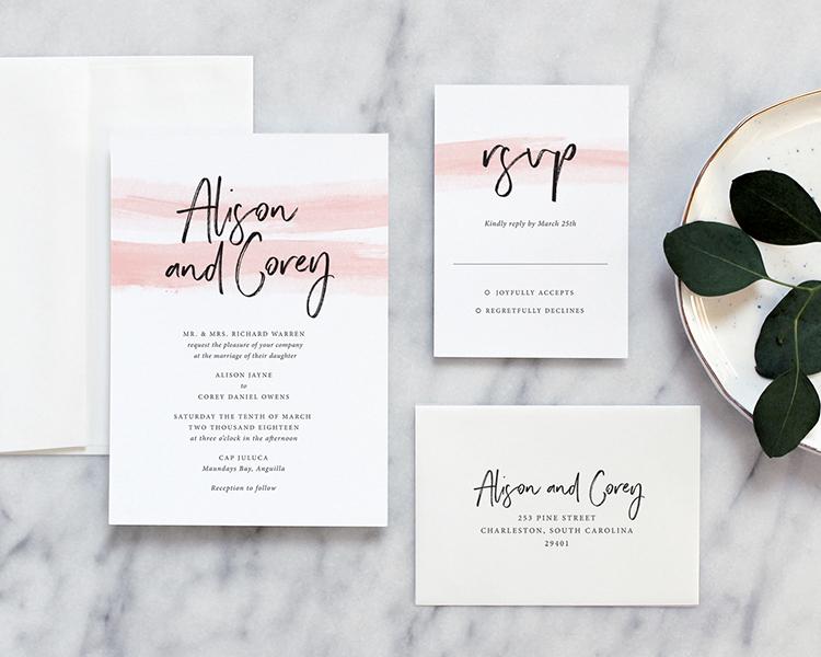 modern romantic wedding invitations by fine day press austin texas - Wedding Invitations Austin Tx