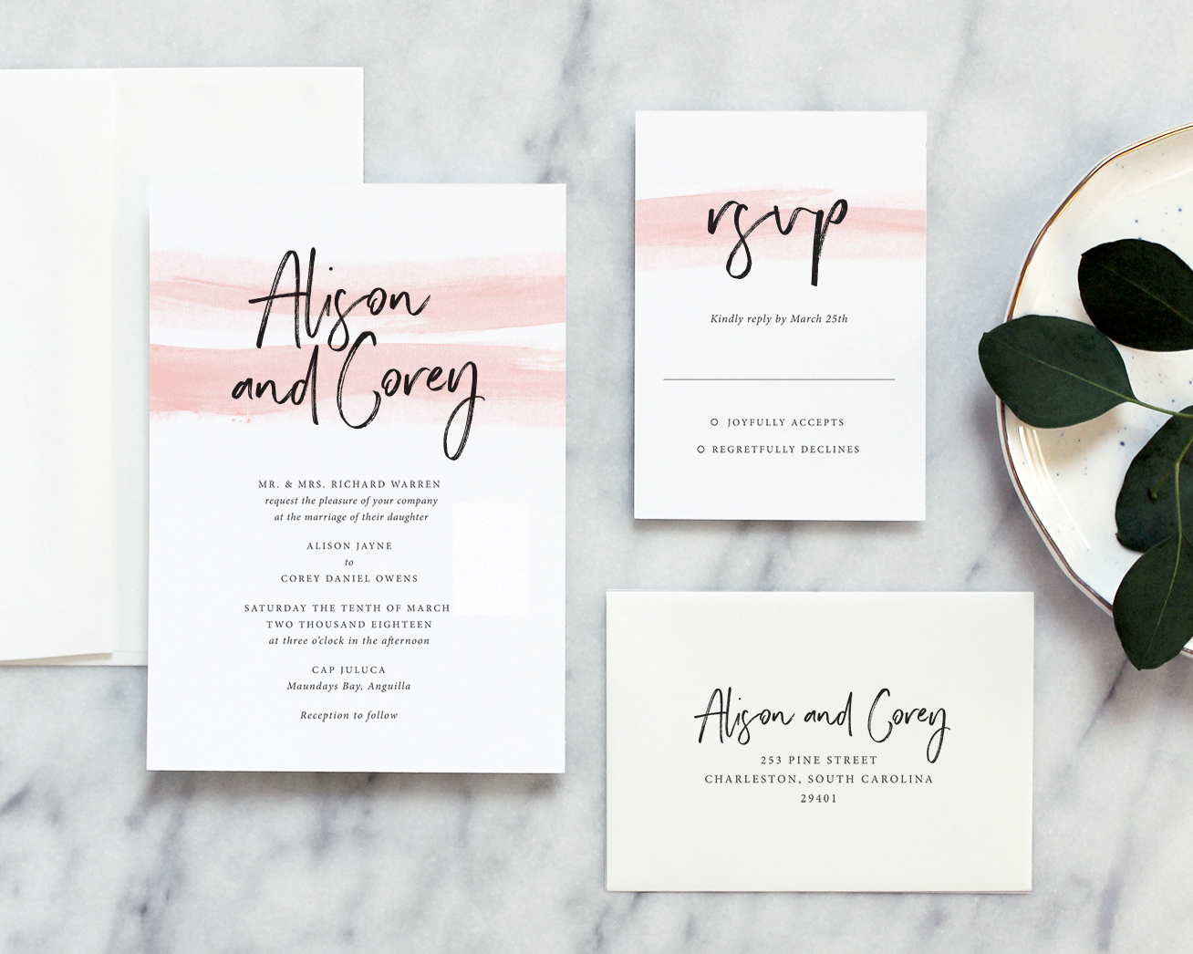Romantic Watercolor Wedding Invitations