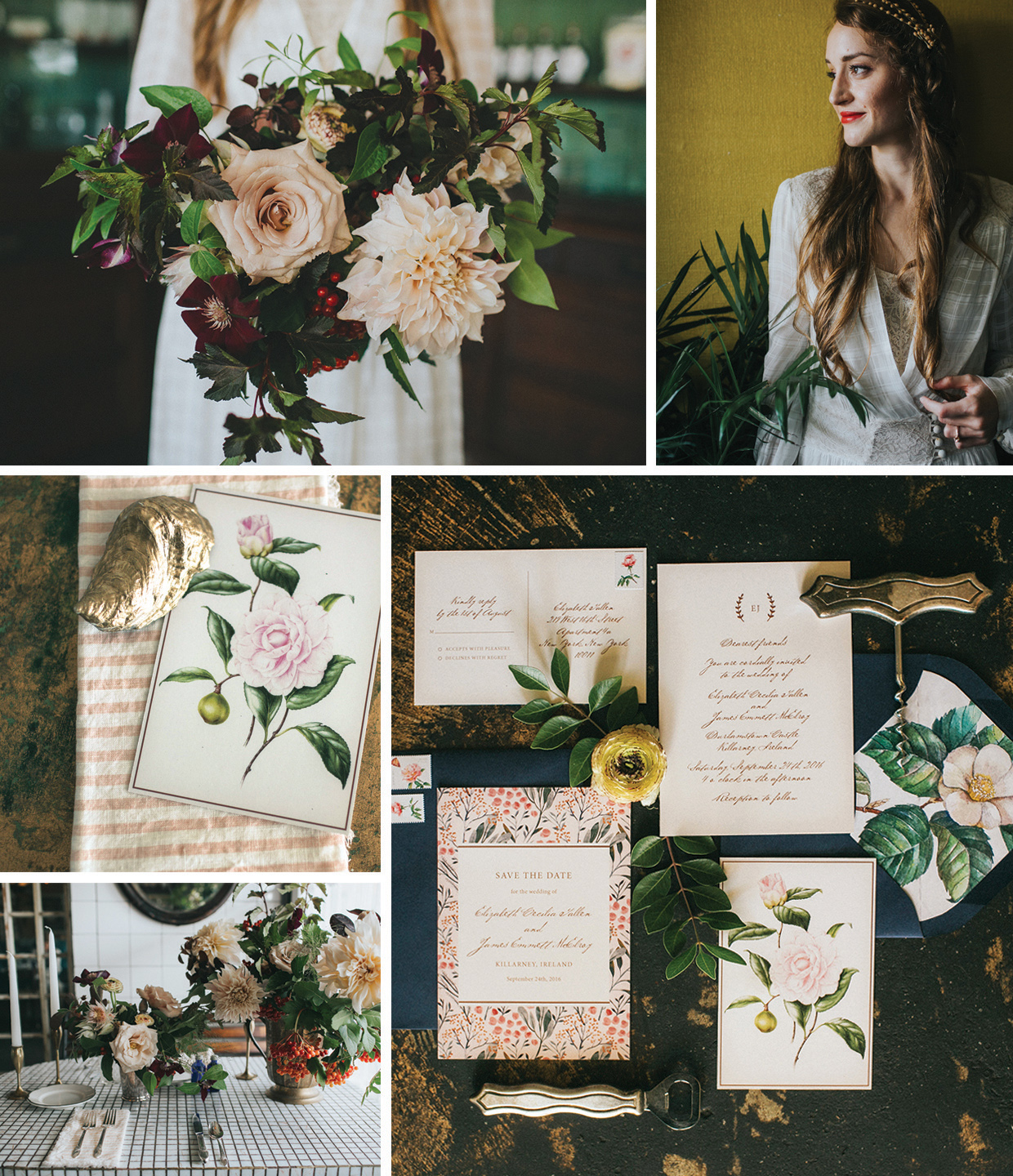 Vintage wedding inspiration, romantic wedding invitations by Fine Day Press