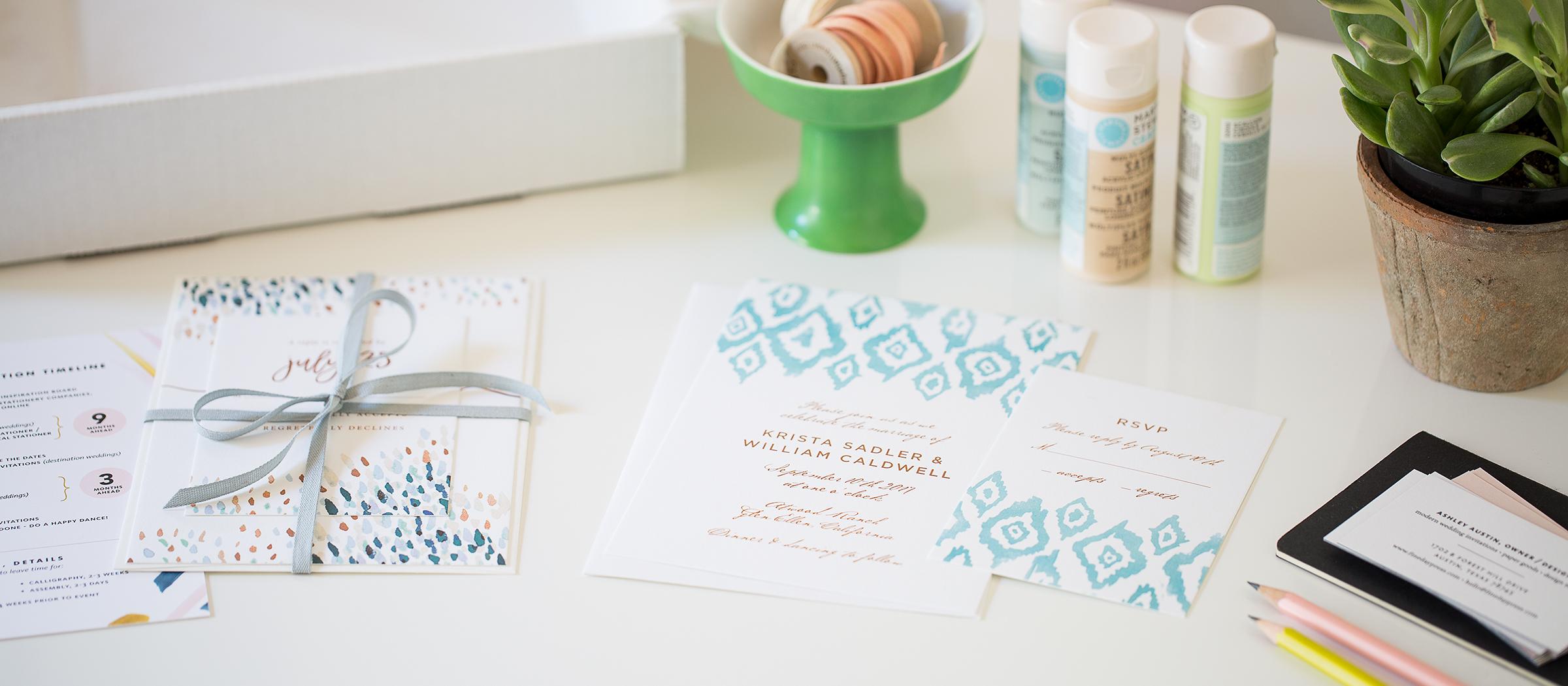 Wedding Invitation Sample - Modern Wedding Invitations, Fine Day Press, Austin, Texas