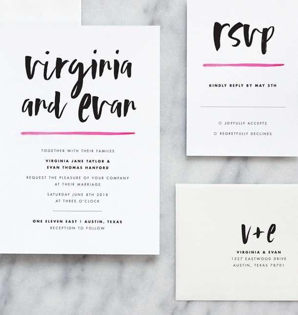 Modern Wedding Invitations by Fine Day Press, Austin