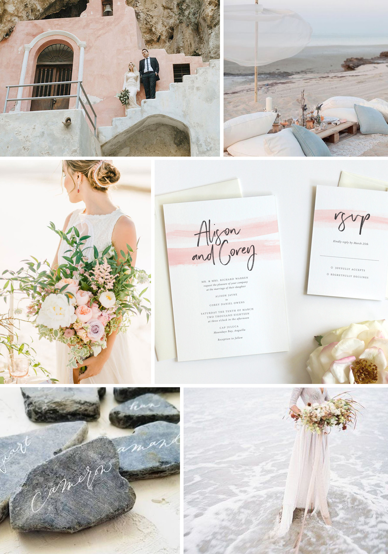 Modern Pastel Beach Wedding - Fine Day Press