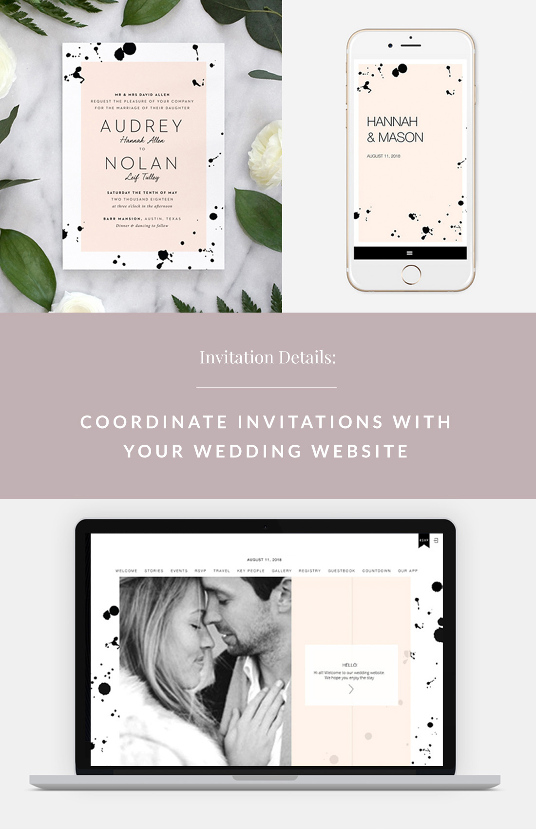 Coordinate Invitations With Your Wedding Website With Fine