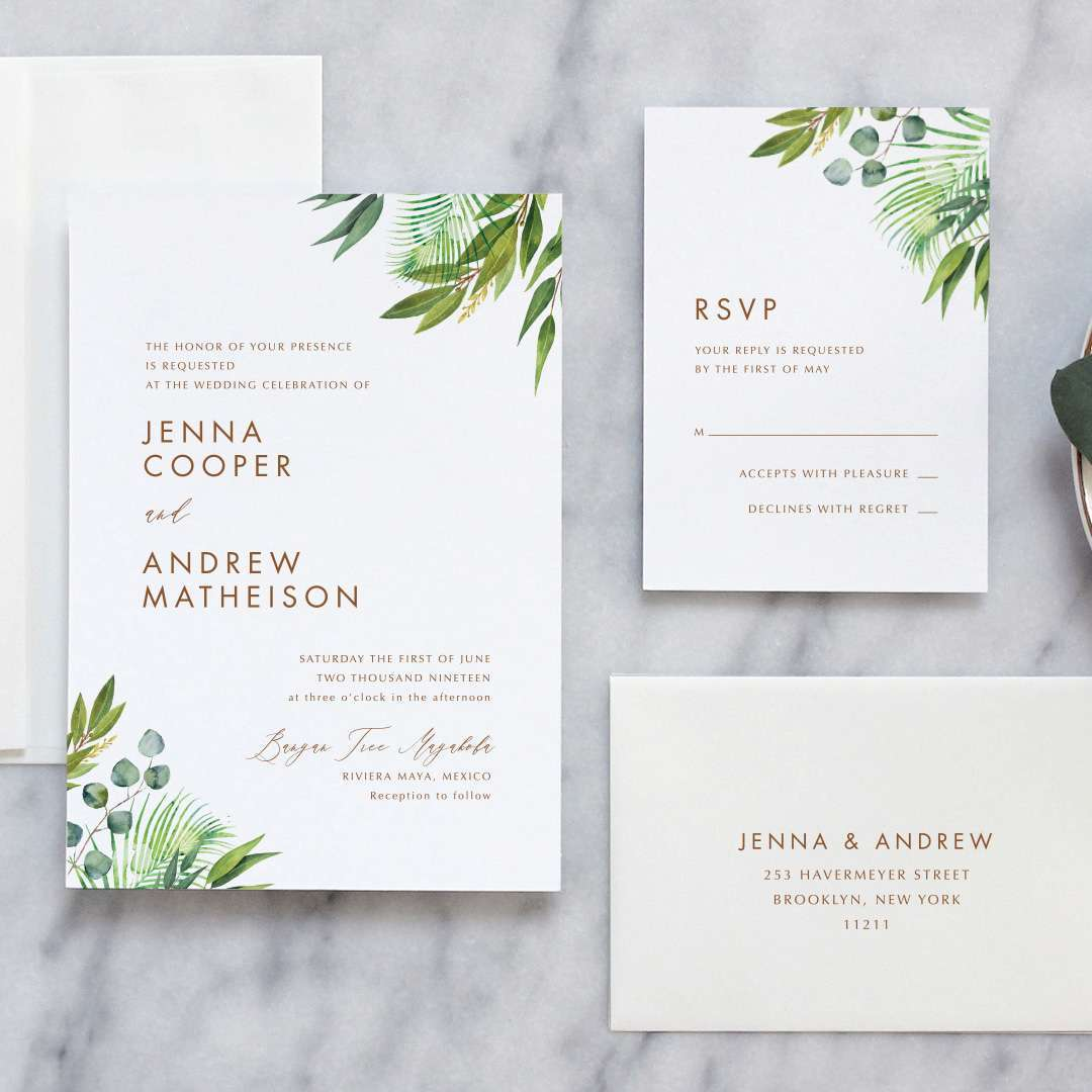 modern greenery wedding invitation